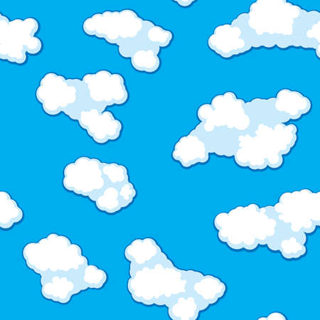 frame less: Abstract clouds background. Seamless. White - blue palette. Vector illustration.