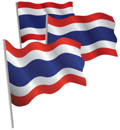 vector waves: Thailand 3d flag. Vector illustration. Isolated on white.