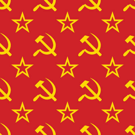 moskva: Abstract symbols of USSR background. Yellow - red palette. Seamless. Vector illustration.