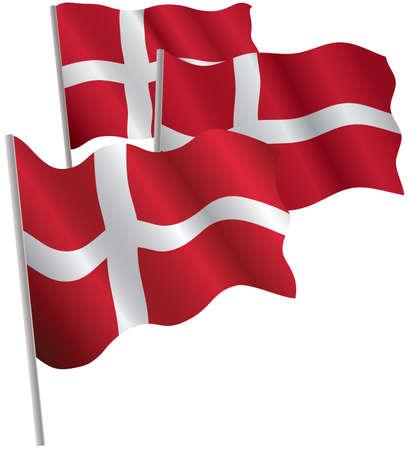 danmark: Kingdom of Denmark 3d flag. Vector illustration. Isolated on white. Illustration