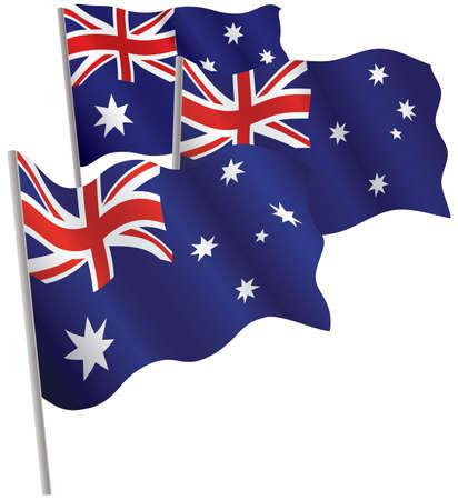canberra: Commonwealth of Australia 3d flag. Vector illustration. Isolated on white.
