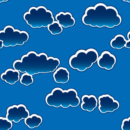 Abstract dark clouds background. Seamless. White - blue palette. Vector illustration. Vector