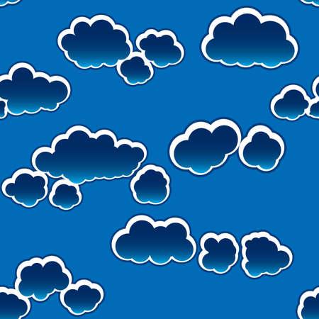 dark cloud: Resumen nubes oscuras de fondo. Sin fisuras. Blanco - azul de la paleta. Ilustraci�n vectorial.