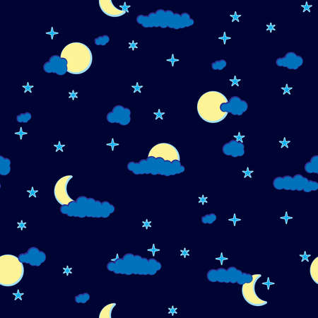 Abstract night clouds background. Seamless. Dark blue palette. Vector illustration. Vector
