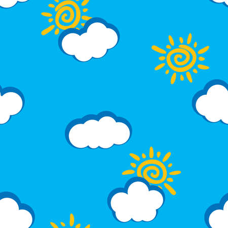 frame less: Abstract day clouds background. Seamless. White - blue palette. Vector illustration.