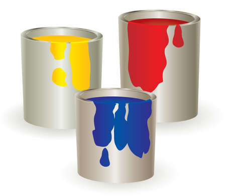 Three containers with yellow, red and blue paint. Vector illustration. Stock Vector - 5212247