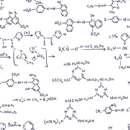 teorema: F�rmulas de qu�mica. Resumen de antecedentes sin fisuras. Ilustraci�n vectorial. Vectores