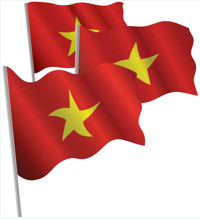 socialist: Socialist Republic of Vietnam 3d flag. Vector illustration. Isolated on white.