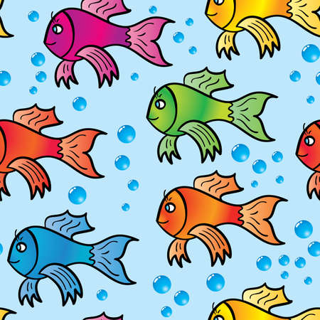frame less: Abstract background of multicolor fishs. Seamless. Vector illustration.