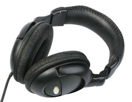 handsfree telephones: Black headphones. Close-up. Isolated on white background.