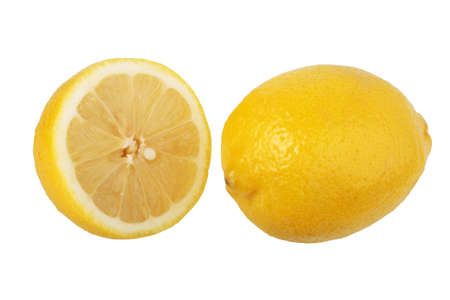 Section and single lemons. Close-up. Isolated on white background.