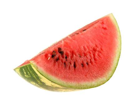 Single slice of ripe watermelon. Close-up. Isolated on white background. photo