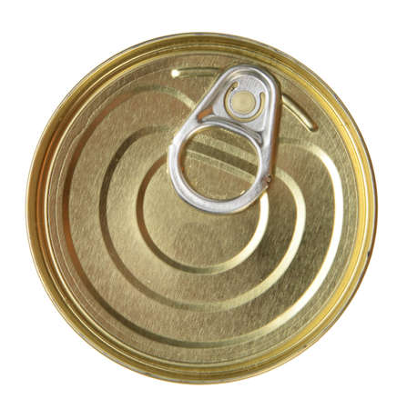 Single metal can. Top view. Close-up. Isolated on white background. photo