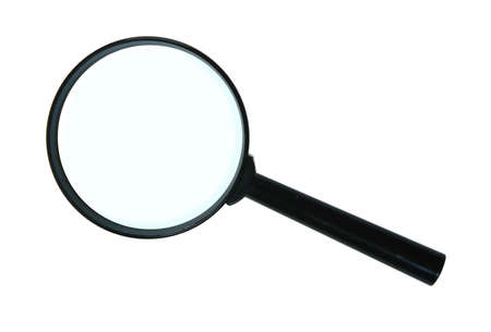 Magnifying glass. Close-up. Isolated on white background. photo
