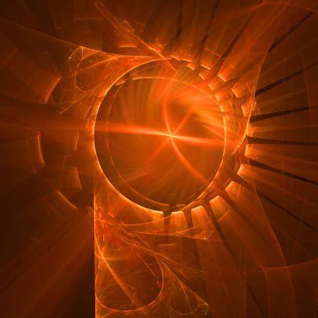 Abstract elegance background. Orange - black palette. Raster fractal graphics. photo