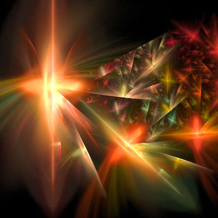 Abstract elegance background. Orange - black palette. Raster fractal graphics. Stock Photo