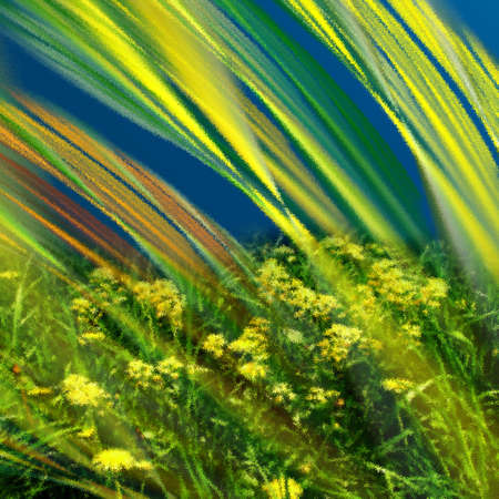 Abstract elegance background. Blue - yellow palette. Combined raster fractal graphics and photo. photo