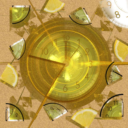 limon: Abstract elegance background. Orange - yellow palette. Combined raster fractal graphics and photo.