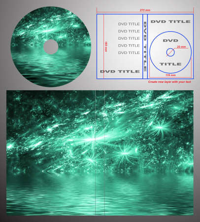 Abstract design template for dvd label and box-cover. Based on rendering of 3d fractal graphics. For using create new layer with your text. Stock Photo - 5601020