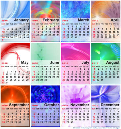 Abstract design template for 2010 calendar. Based on rendering of 3d fractal graphics. For using create new layer with your text and image.