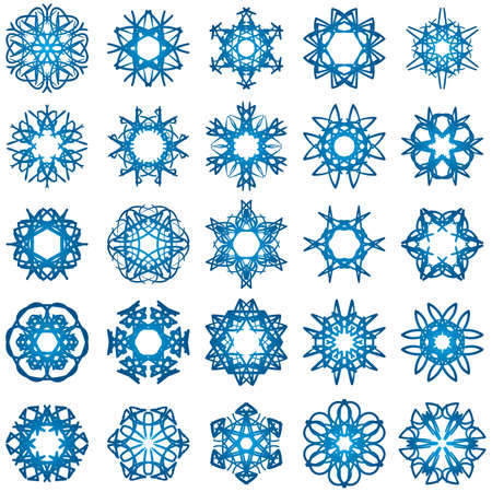 Set of 25 a six-rays crystal gradient snowflakes. Vector illustration on white background. Vector