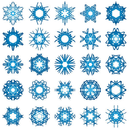Set of 25 a six-rays crystal gradient snowflakes. Vector illustration on white background. Stock Vector - 5746609