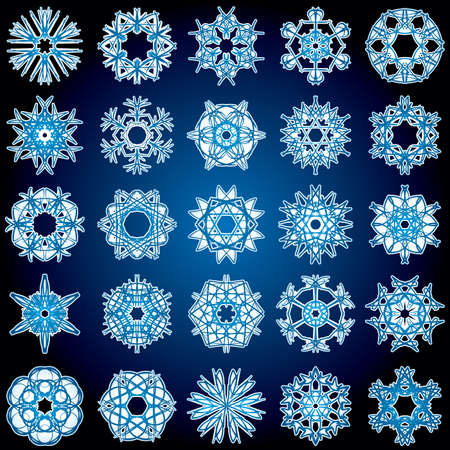 Set of 25 a six-rays crystal gradient snowflakes. Vector illustration on dark blue background. Vector