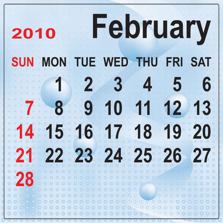Calendar of February 2010 on abstract background. Week begins with Sunday. Vector illustration. Gradient mesh include. Stock Vector - 5803838