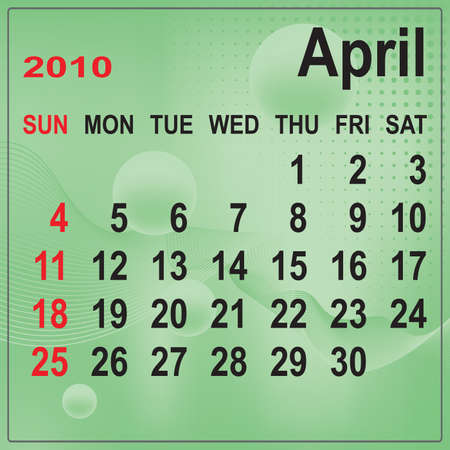Calendar of April 2010 on abstract background. Week begins with Sunday. Vector illustration. Gradient mesh include. Vector