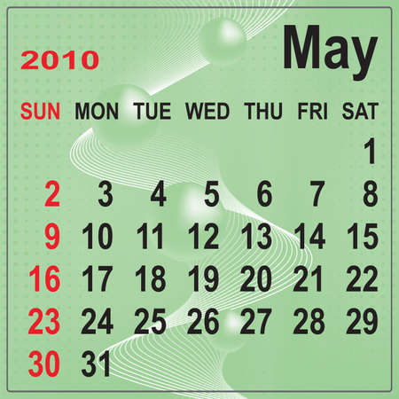 Calendar of May 2010 on abstract background. Week begins with Sunday. Vector illustration. Gradient mesh include. Vector