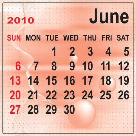 Calendar of June 2010 on abstract background. Week begins with Sunday. Vector illustration. Gradient mesh include. Stock Vector - 5803843