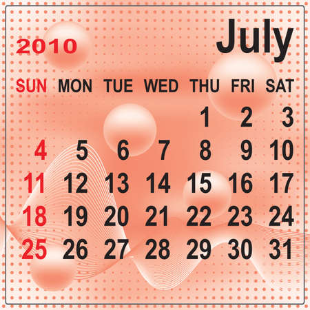 Calendar of July 2010 on abstract background. Week begins with Sunday. Vector illustration. Gradient mesh include. Vector