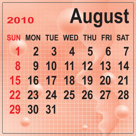 Calendar of August 2010 on abstract background. Week begins with Sunday. Vector illustration. Gradient mesh include. Vector