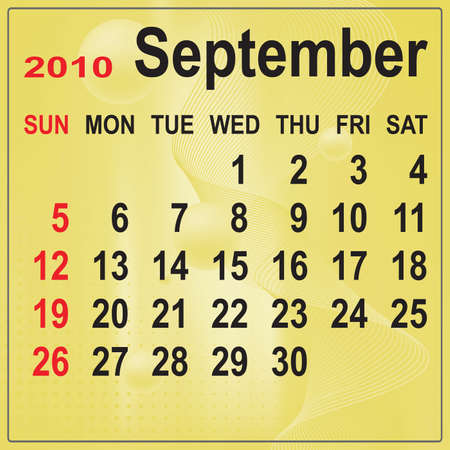 Calendar of September 2010 on abstract background. Week begins with Sunday. Vector illustration. Gradient mesh include. Stock Vector - 5803786
