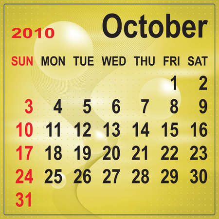 Calendar of October 2010 on abstract background. Week begins with Sunday. Vector illustration. Gradient mesh include. Vector