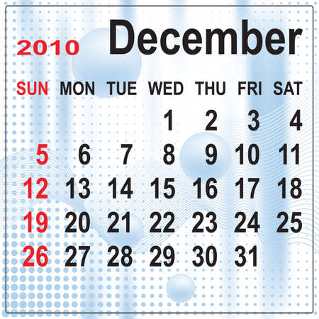 Calendar of December 2010 on abstract background. Week begins with Sunday. Vector illustration. Gradient mesh include. Stock Vector - 5803834
