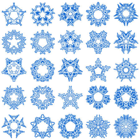 Set of 25 a five-rays crystal gradient snowflakes. Vector illustration on white background.