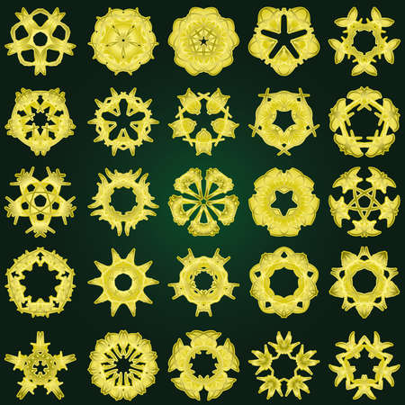 Set of 25 a five-rays crystal gradient snowflakes. Vector illustration on dark-green background. Vector
