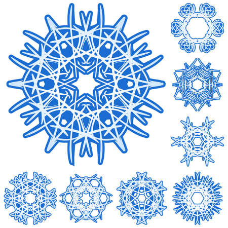Set of six-rays crystal gradient snowflakes. Vector illustration on white background. Vector