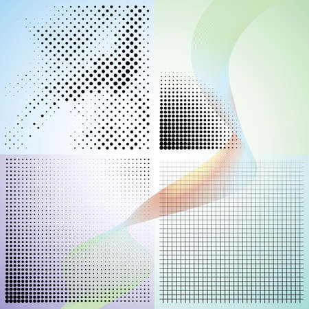 Set of abstract elegance gradient backgrounds with dots. Vector illustration. Ilustracja