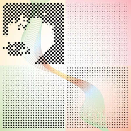 Set of abstract elegance gradient backgrounds with dots. Vector illustration. Illustration