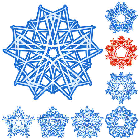 Set of five-rays crystal gradient snowflakes. Vector illustration on white background. Vector