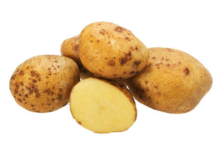 Group of yellow potatos. Close-up. Isolated on white background. Stock Photo - 6210312