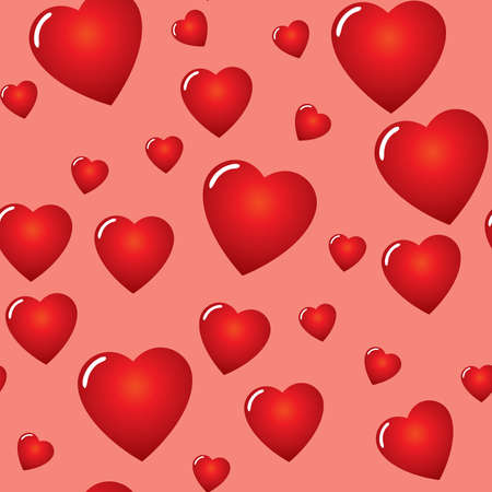 Valentines day abstract seamless background with red hearts. Vector illustration.