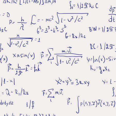 mathematical proof: Formulas. Seamless abstract background. Vector illustration.