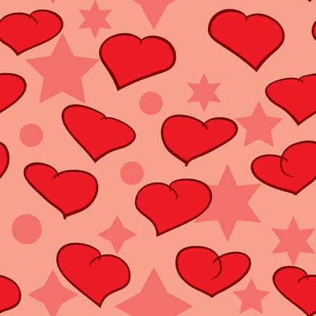 frame less: Valentines day abstract seamless background with red hearts. Illustration