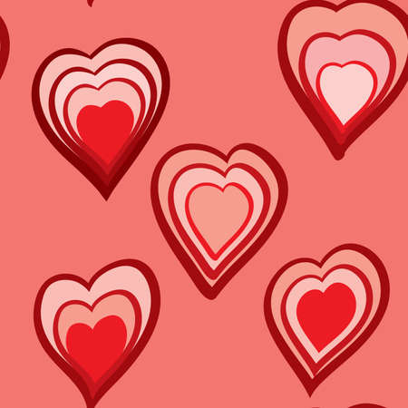 frame less: Valentines day abstract seamless background with red hearts.  illustration. Illustration