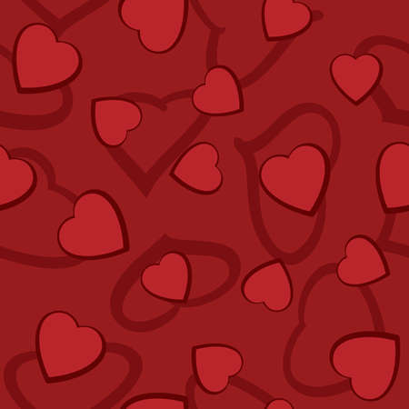 frame less: Valentines day abstract seamless background with red hearts. Vector illustration.