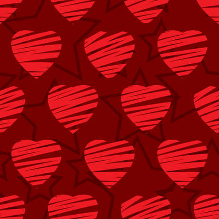 Valentine's day abstract seamless background with red hearts. Vector illustration. Stock Vector - 6312462