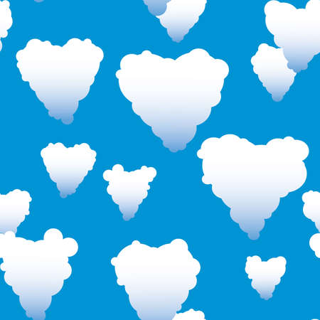 frame less: Valentines day abstract seamless background with clouds heart-form. Vector illustration. Illustration